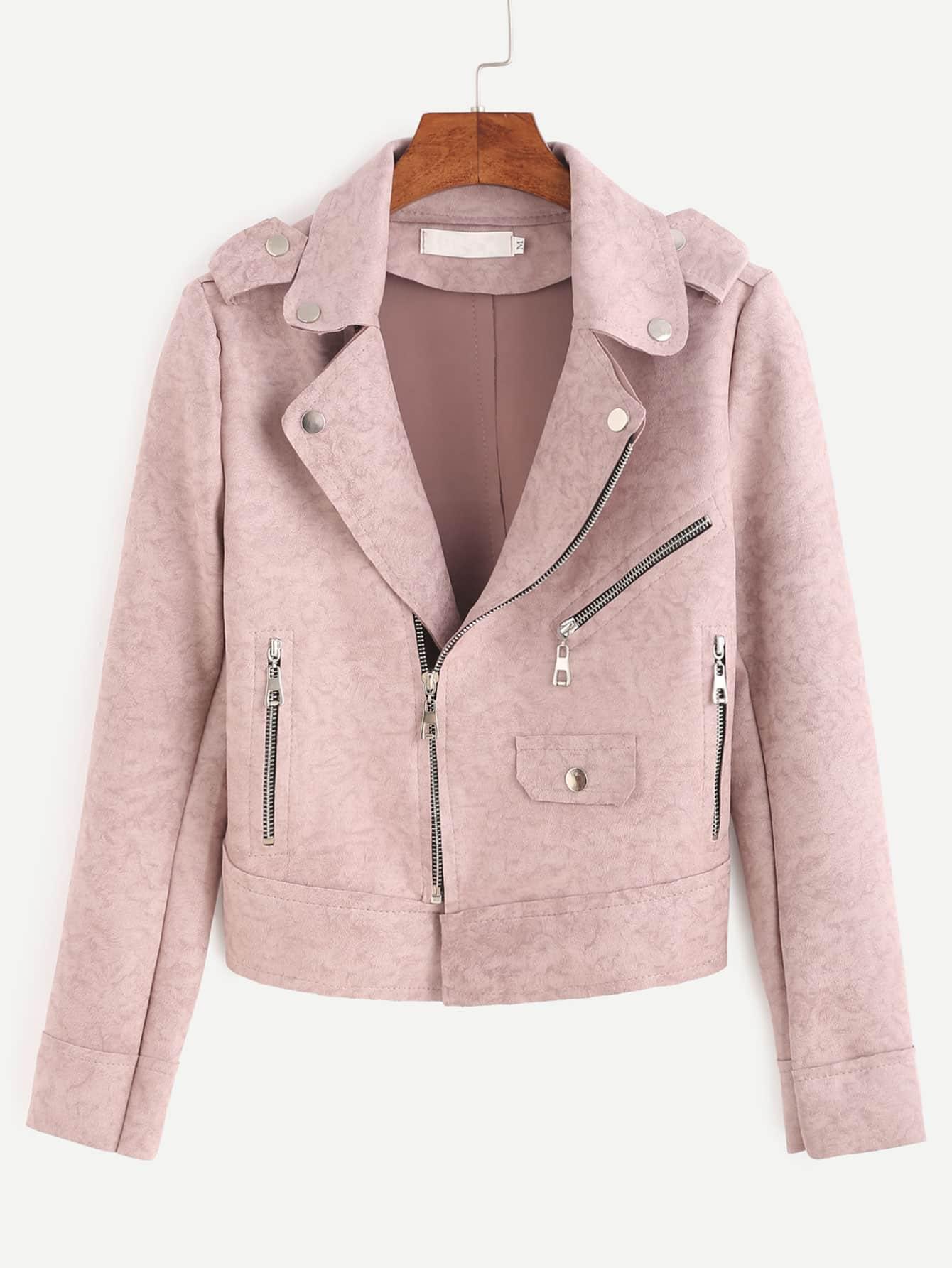 veste en su dine zipp avec paulettes rose french shein sheinside. Black Bedroom Furniture Sets. Home Design Ideas