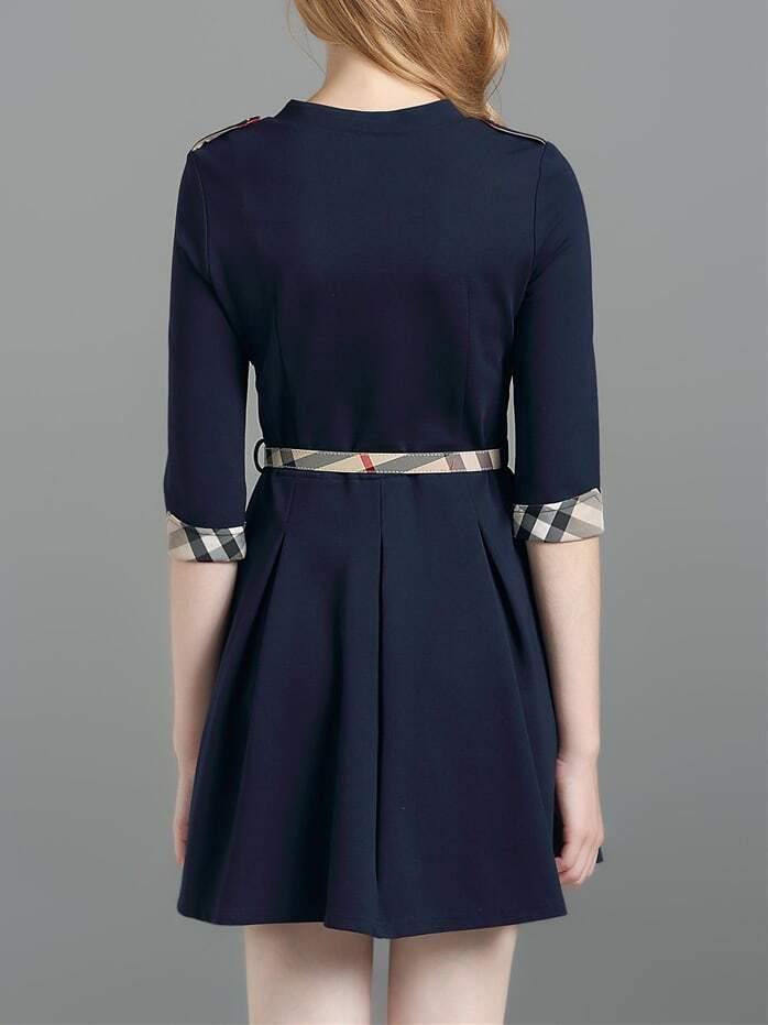 navy v neck belted a line dress shein sheinside