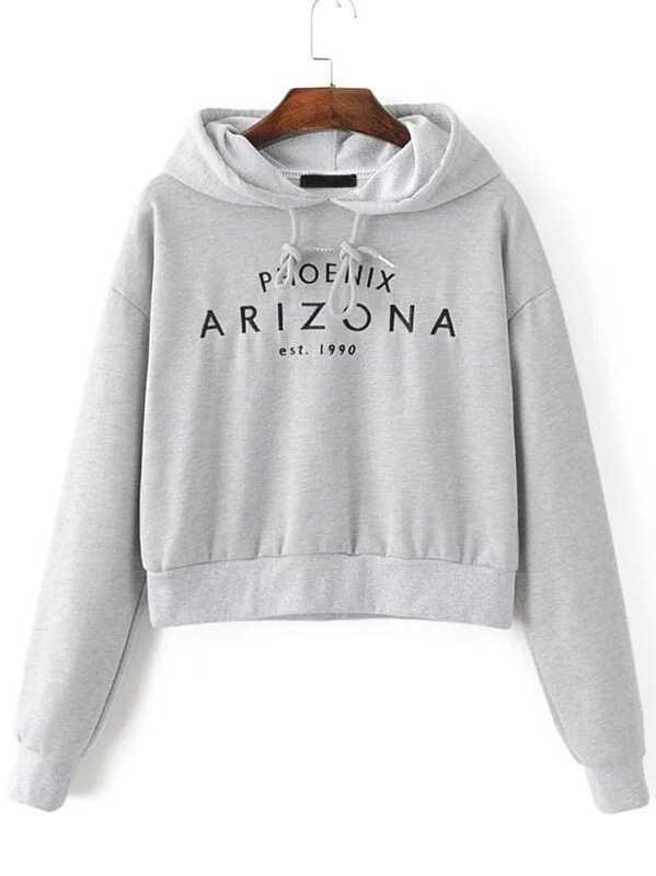 4264d214439 Letter Embroidery Crop Hooded Sweatshirt -SheIn(Sheinside)