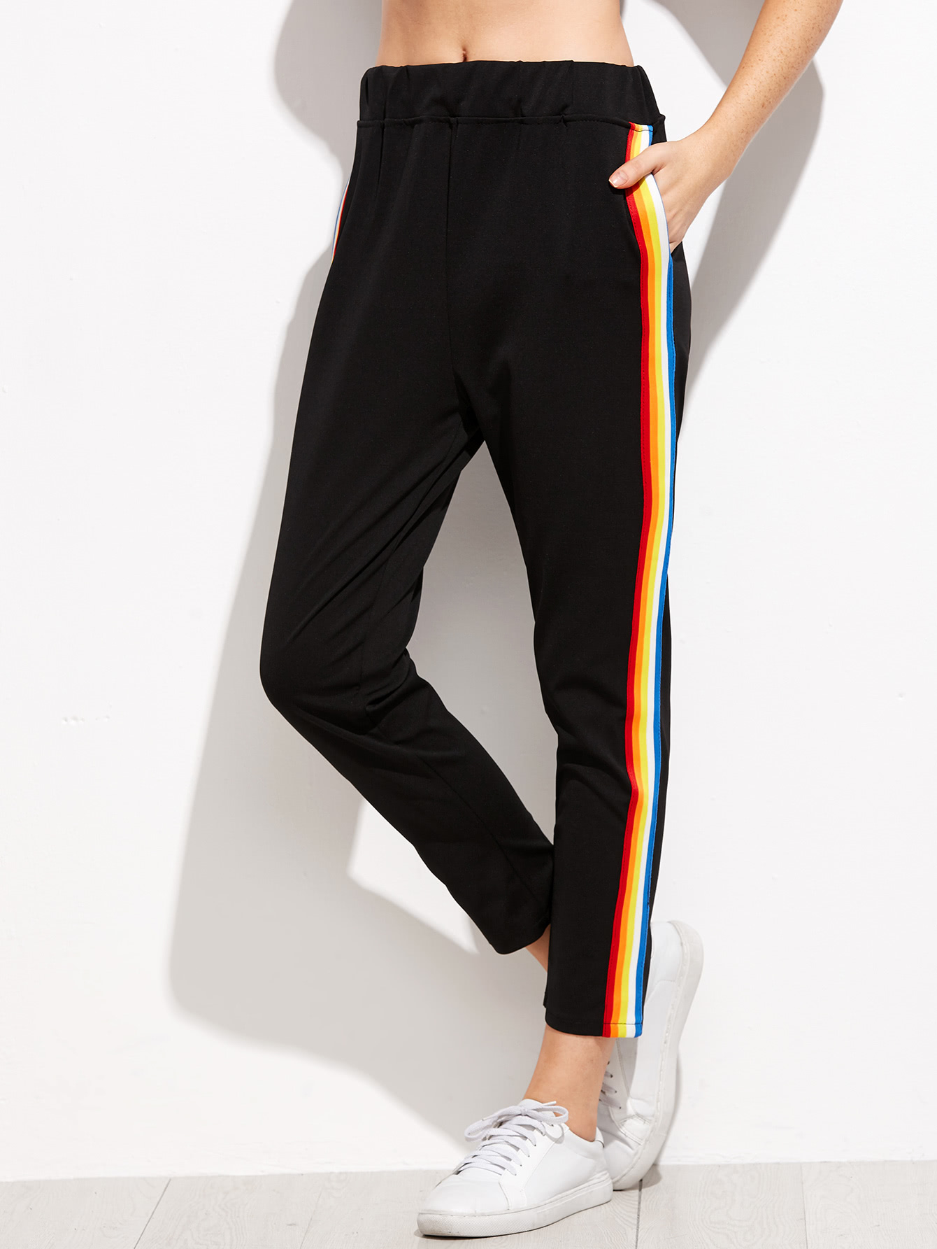 Contrast Rainbow Stripe Trousers Shein Uk
