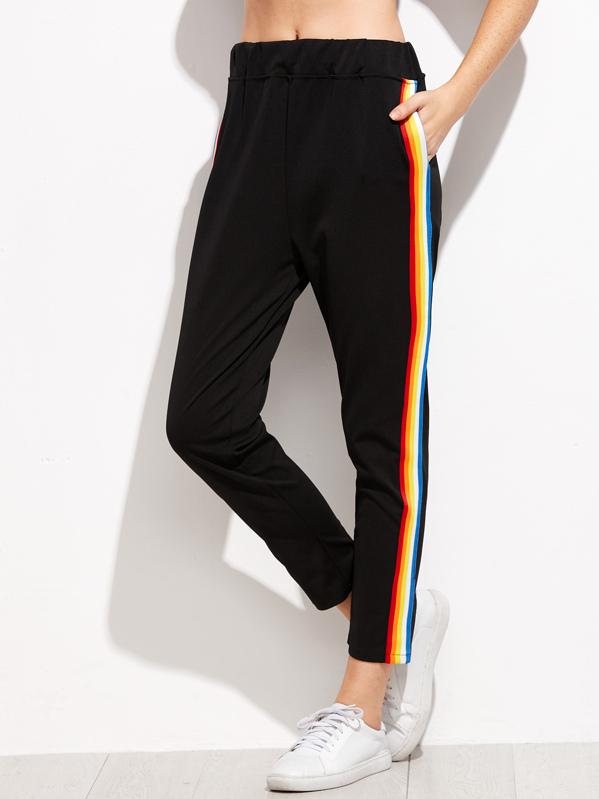 1124c727e3eb41 Contrast Rainbow Stripe Trousers | SHEIN UK