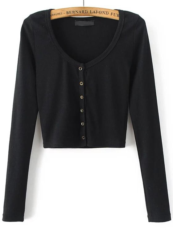 88c33a395491 Button Up Crop Cardigan Sweater | SHEIN