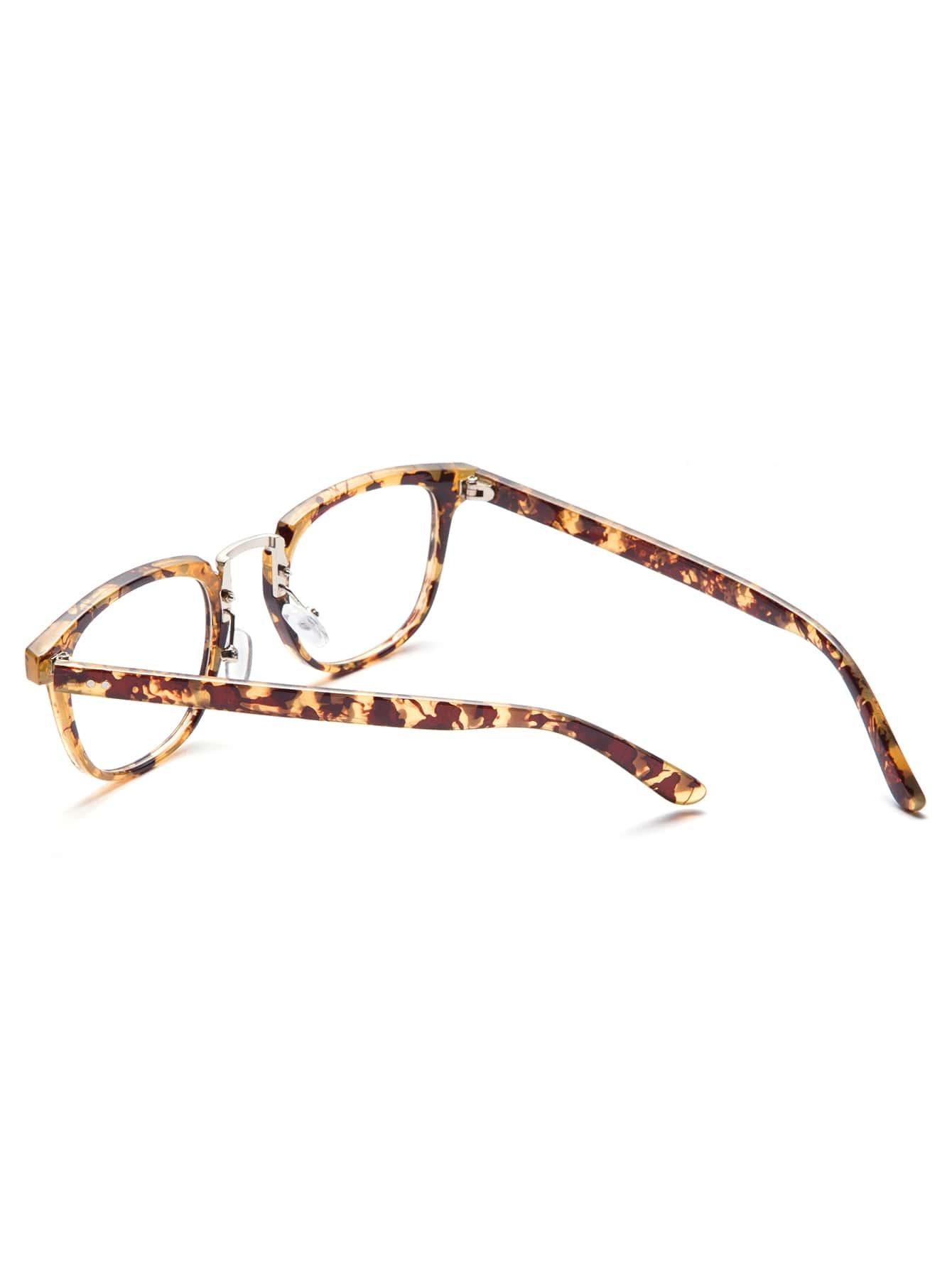 Brown Tortoise Frame Clear Lens Glasses -SheIn(Sheinside)