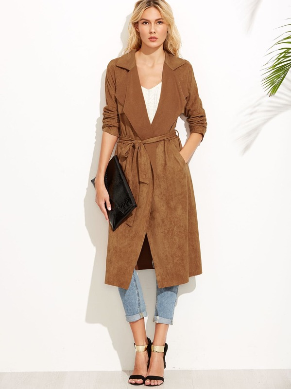 b79c61ddf1 Brown Suede Self Tie Duster Coat | SHEIN