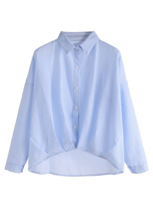95809c2bd Blue Vertical Striped Drop Shoulder High Low Shirt | SHEIN