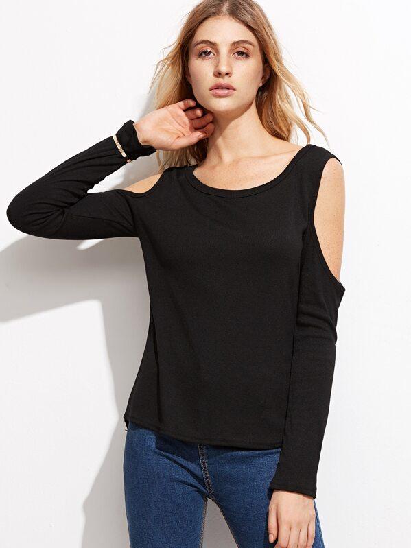 Black Open Shoulder T-shirt -SheIn(Sheinside) 1e0578b80