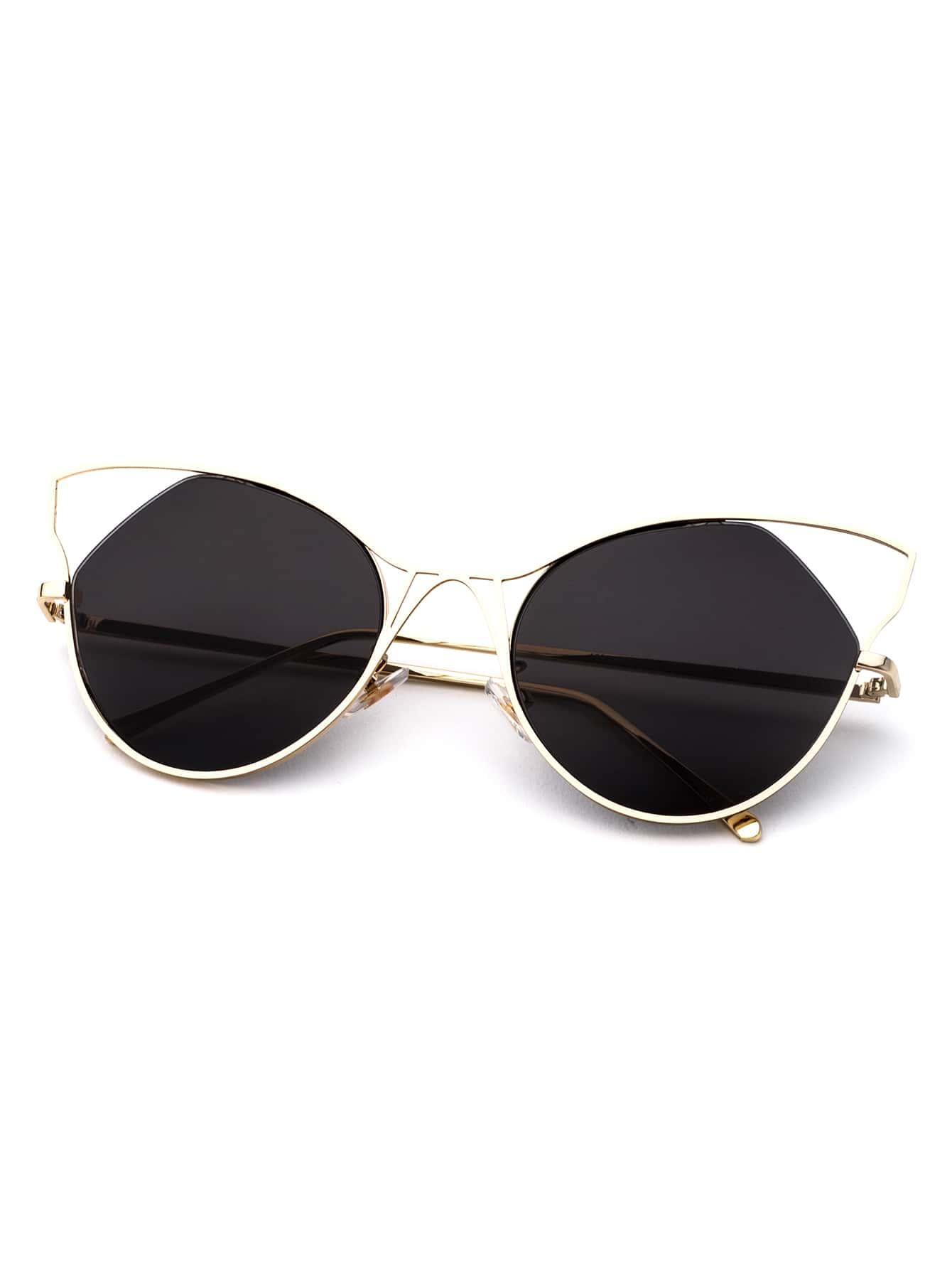 Gold Frame Cat Eye Sunglasses : Gold Frame Black Cat Eye Sunglasses -SheIn(Sheinside)