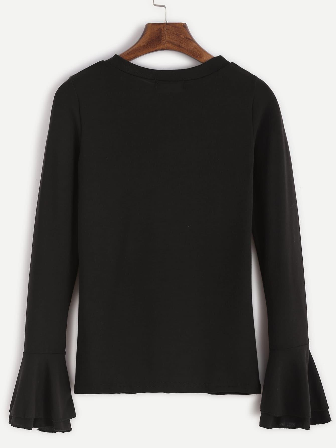 Black Bell Sleeve T Shirt Shein Sheinside
