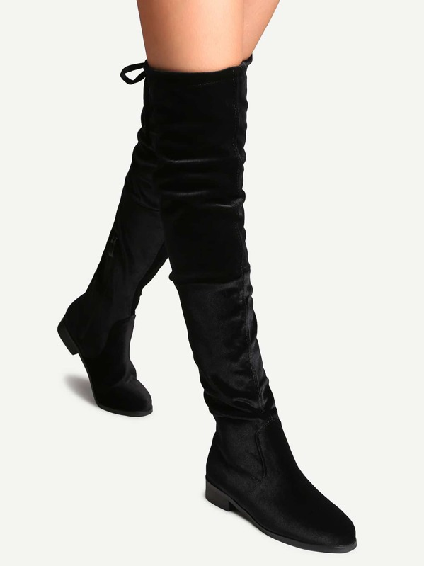 0d8ab9eee4e Black Faux Suede Side Zipper Tie Back Over The Knee Boots