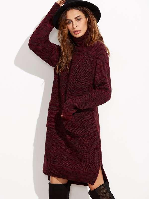 a646ed4b1640 Burgundy Marled Knit Turtleneck High Low Sweater Dress