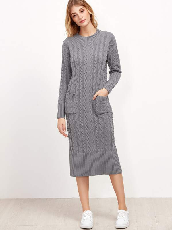 Grey Cable Knit Dual Pocket Front Slit Back Sweater Dress Shein