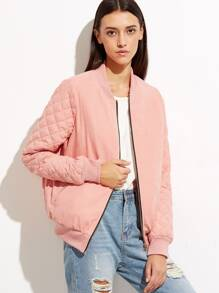 Pink Quilted Padded Zip Up Bomber Jacket