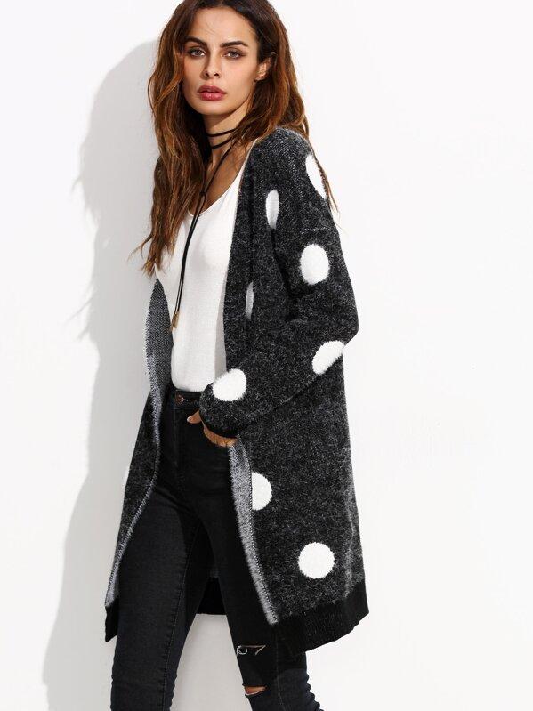acc5ed7d2c Black Polka Dot Open Front Long Sweater Coat | SHEIN