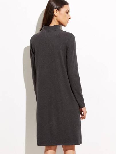Heather Grey Cowl Neck Long Sleeve Shift Dress -SheIn(Sheinside)
