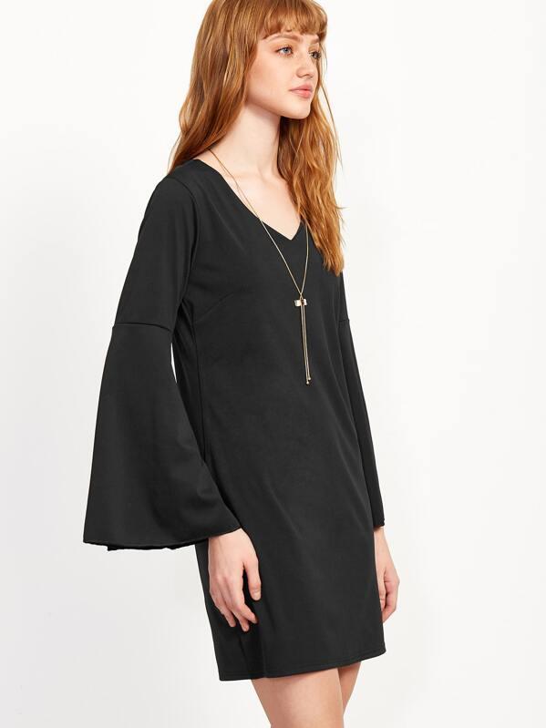 d114f2f6b3 Black V Neck Bell Sleeve Shift Dress | SHEIN