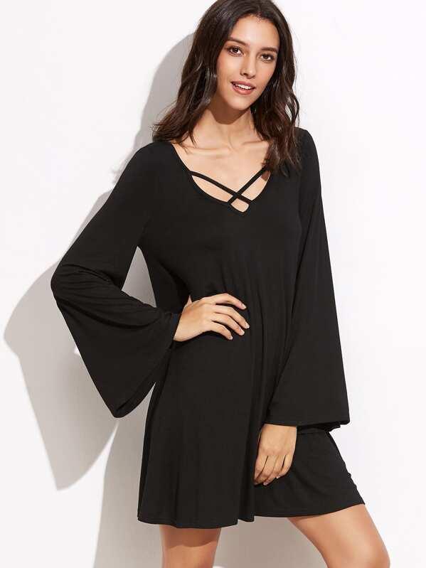b527a685468fe Double Criss Cross V Neck Bell Sleeve Dress -SheIn(Sheinside)