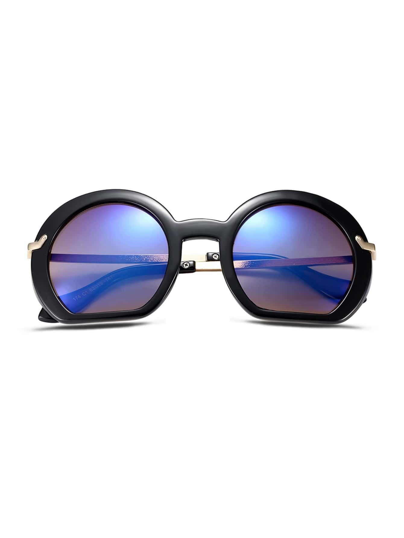 Big Gold Frame Sunglasses : Black Frame Large Lens Gold Arm Sunglasses -SheIn(Sheinside)