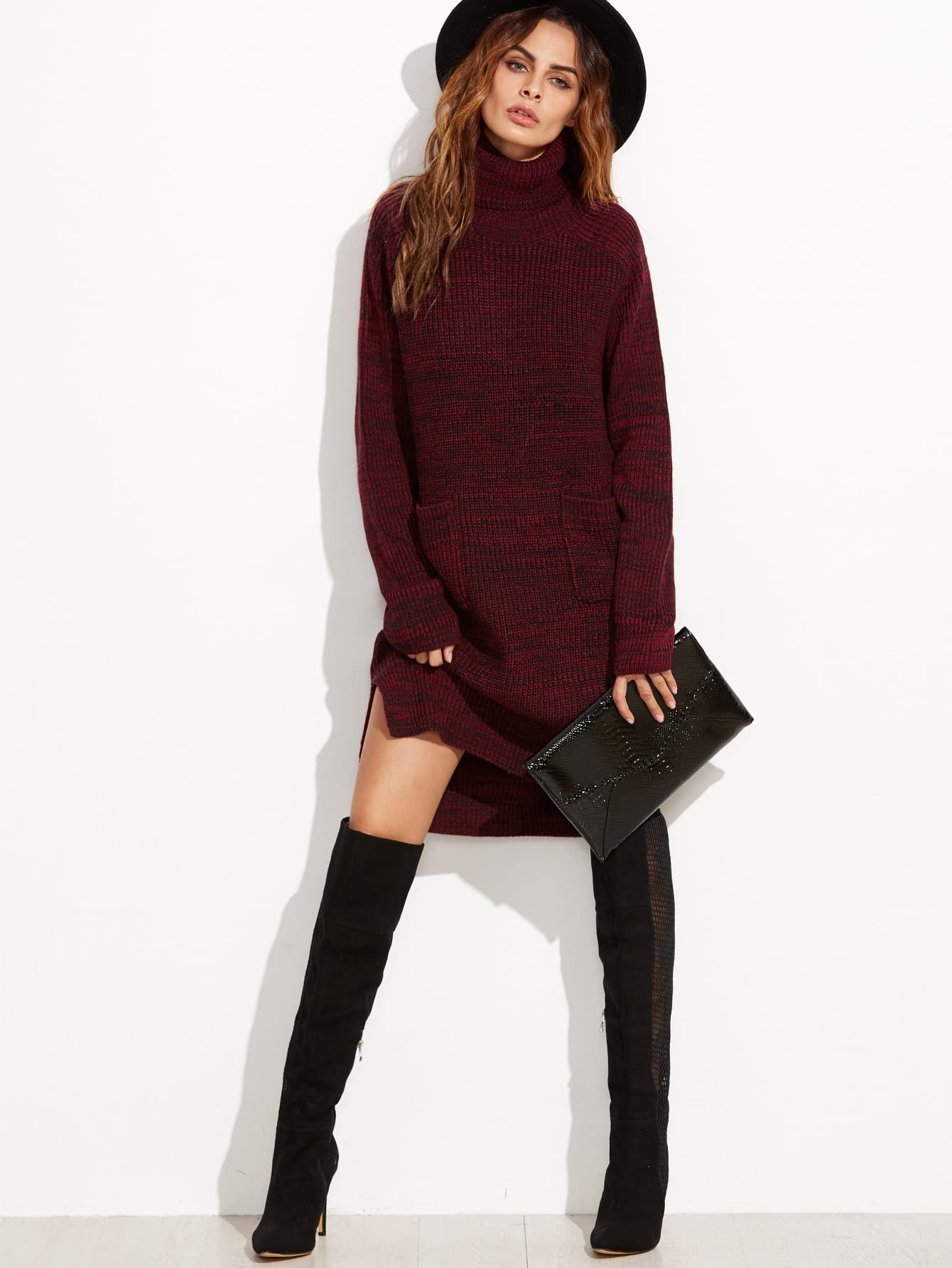 Burgundy Marled Knit Turtleneck High Low Sweater Dress ...