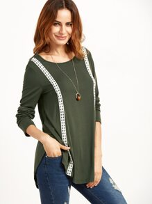 Olive Green Curved Hen T-shirt With Dotted Crochet Detail pictures