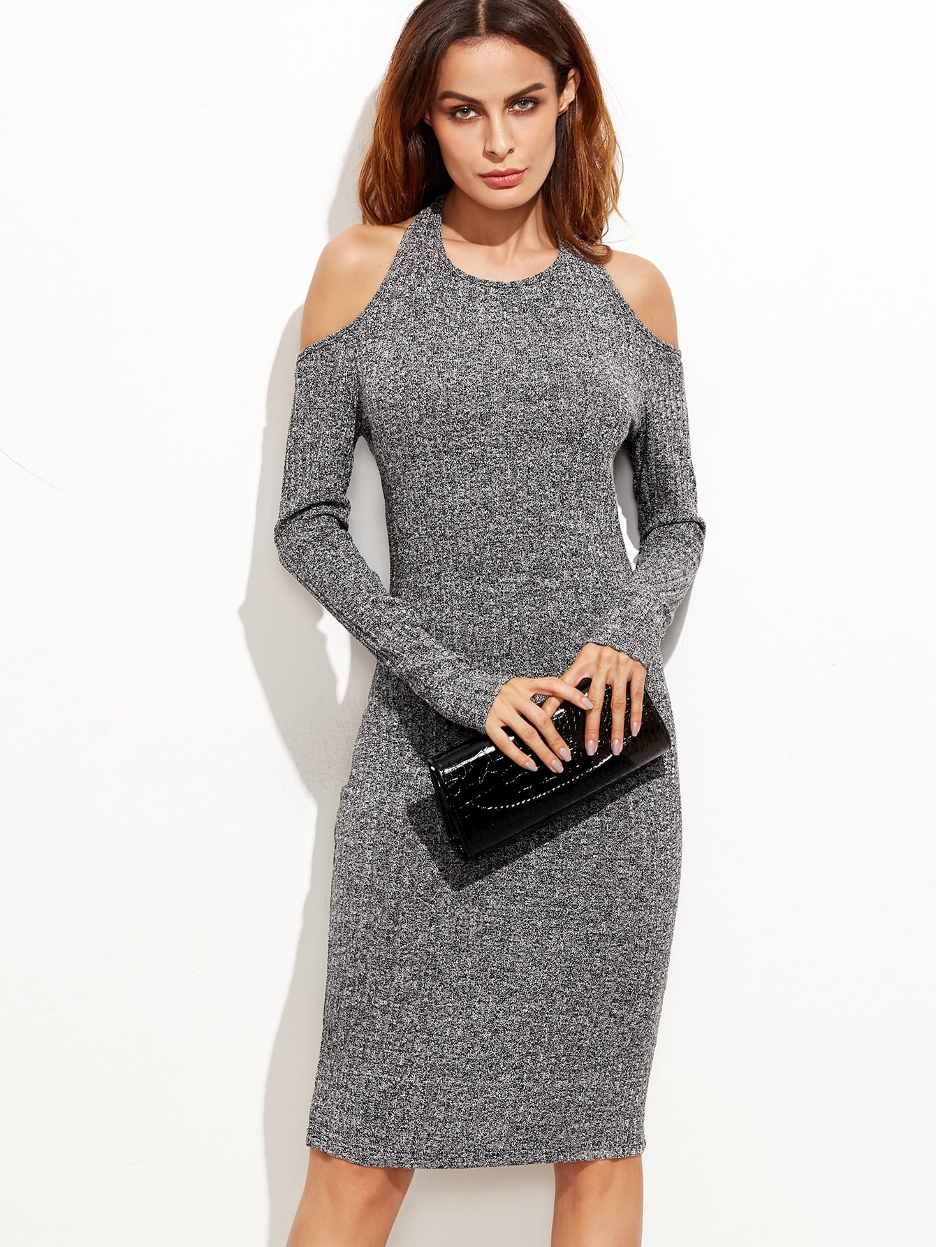 Grey Marled Knit Cold Shoulder Cutout Tie Back Pencil Dress