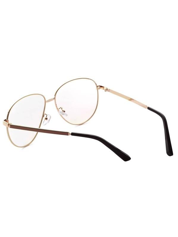 825555f67e Gold Frame Large Lens Vintage Glasses -SheIn(Sheinside)