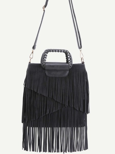 Black Faux Leather Fringe Crossbody Bag With Handle