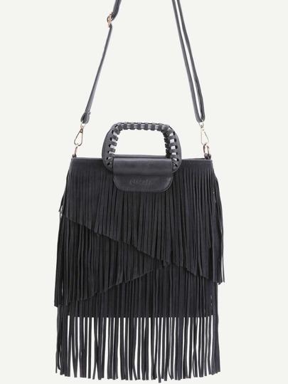 Black Faux Leather Fringe Crossbody Bag With Handle