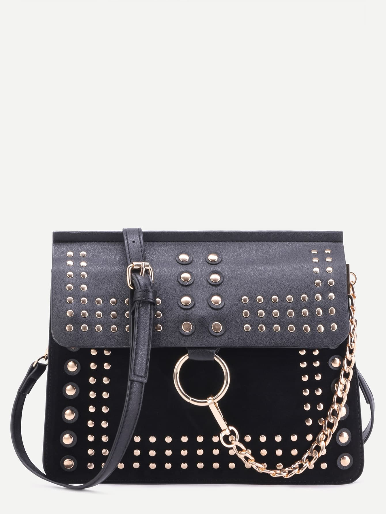 black bag with gold studded details