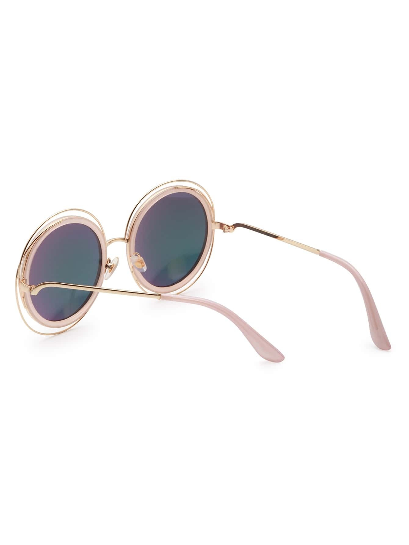 Gold Frame Pink Lens Sunglasses -SheIn(Sheinside)