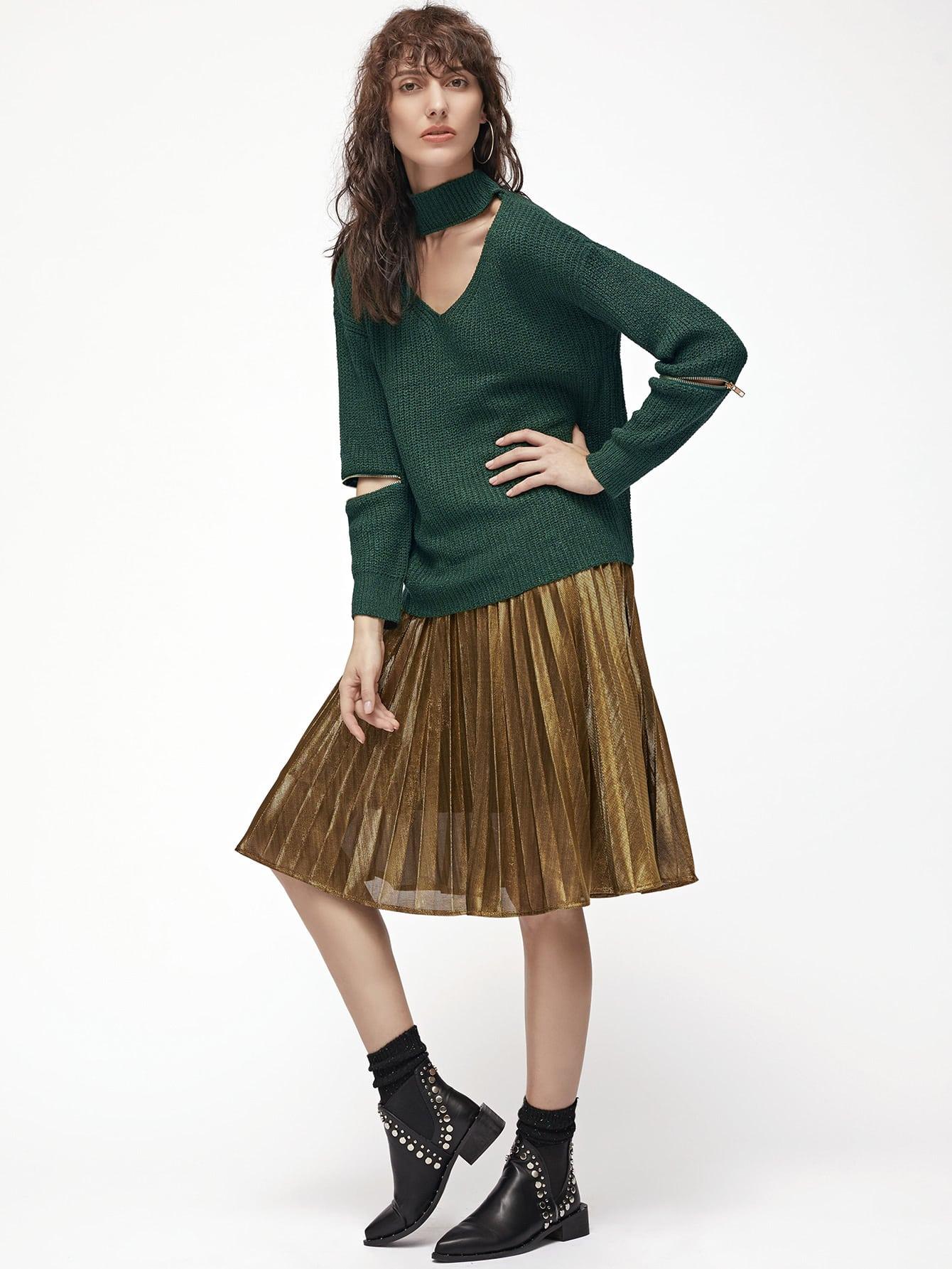 Dark Green Cutout Zipper Detail Sweater
