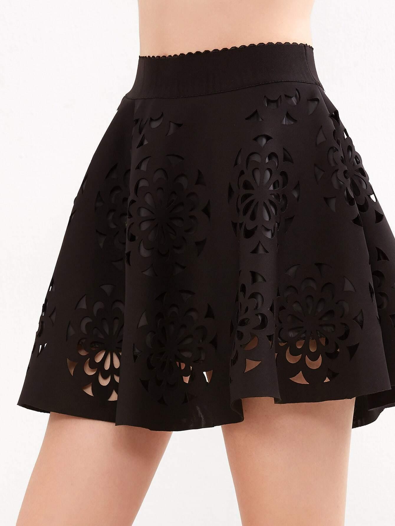 black scalloped cut out a line skirt shein sheinside