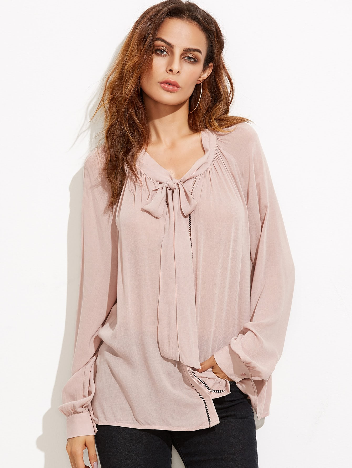 Pink Tie Neck Blouse 11