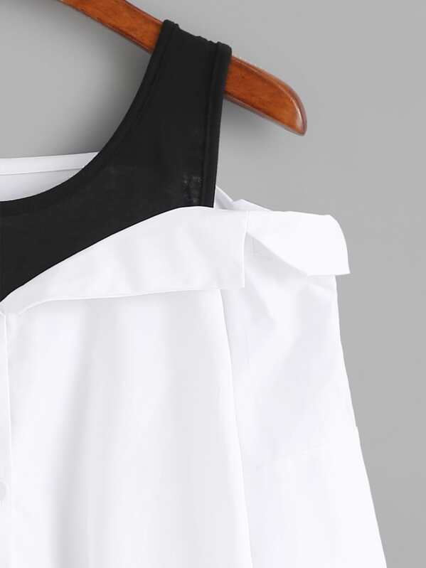 Fold Over Panel Cold Shoulder Blouse Shein Sheinside
