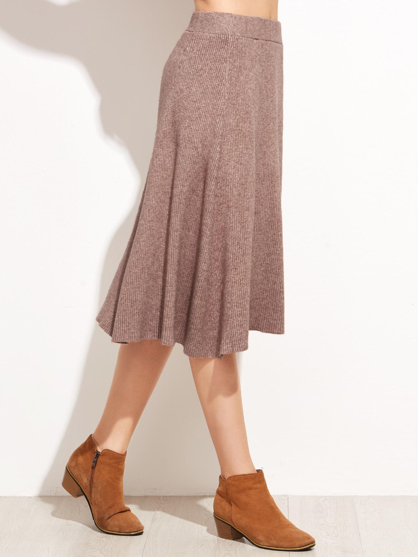 Khaki A Line Knee Lengh Skirt