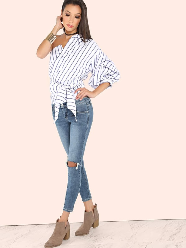 a3f6c9a584ac99 Cheap Striped One Shoulder Wrap Around Button Down Top for sale Australia