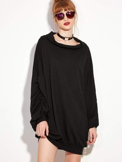f3a3eb03bf0e3b Laternärmel Sweatshirt Kleid -schwarz | SHEIN