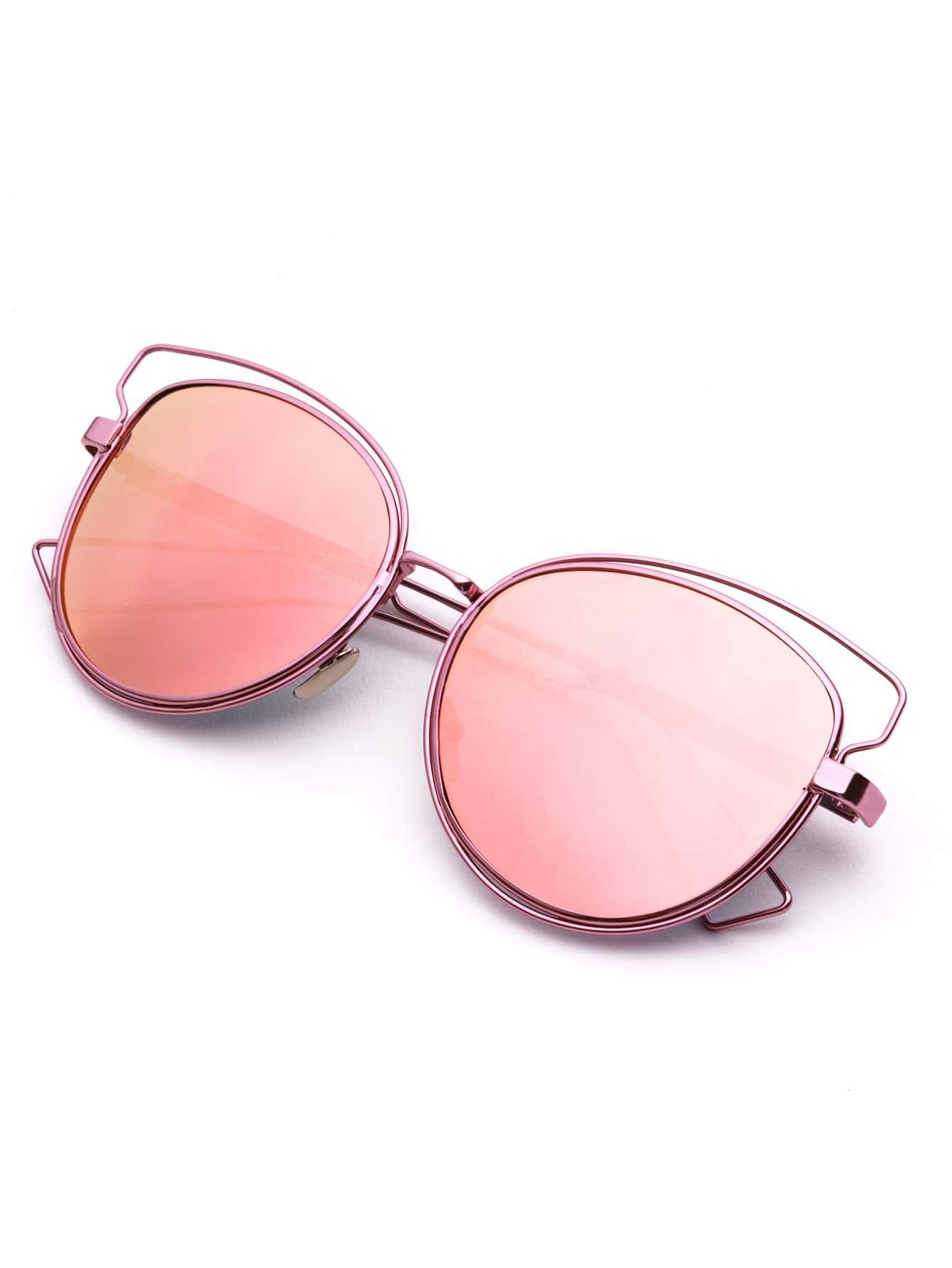 Rose Gold Frame Pink Lens Hollow Out Sunglasses -SheIn ...