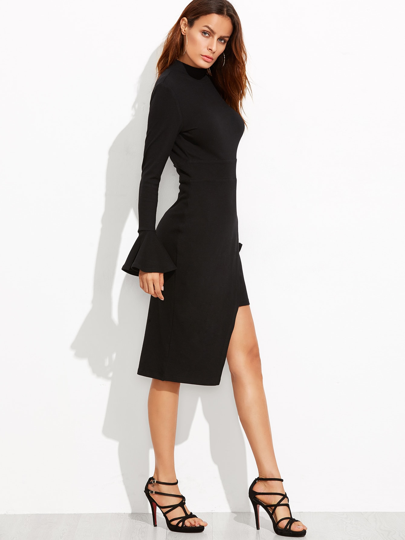 Black Open Back Bell Cuff Asymmetric Wrap Dress -SheIn(Sheinside)