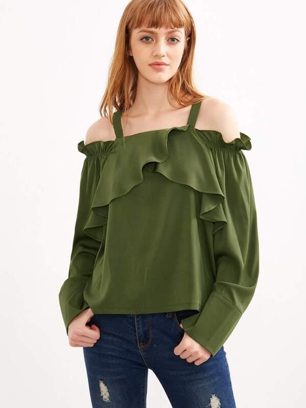 3d714131d0ac3a Olive Green Cold Shoulder Ruffle Top