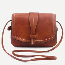 SHEIN | Brown Faux Leather Saddle Bag | Goxip