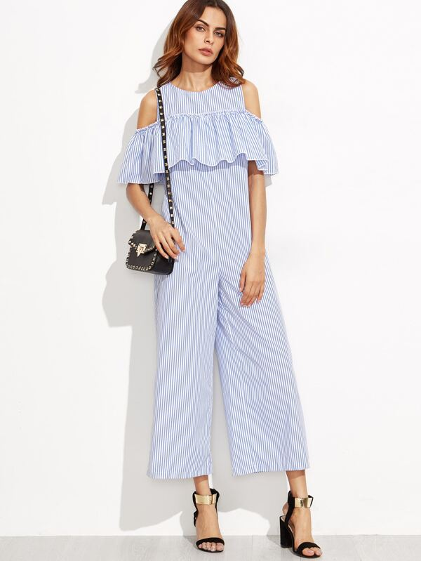 423ab54fa7e Blue Vertical Striped Open Shoulder Wide Leg Ruffle Jumpsuit -SheIn ...