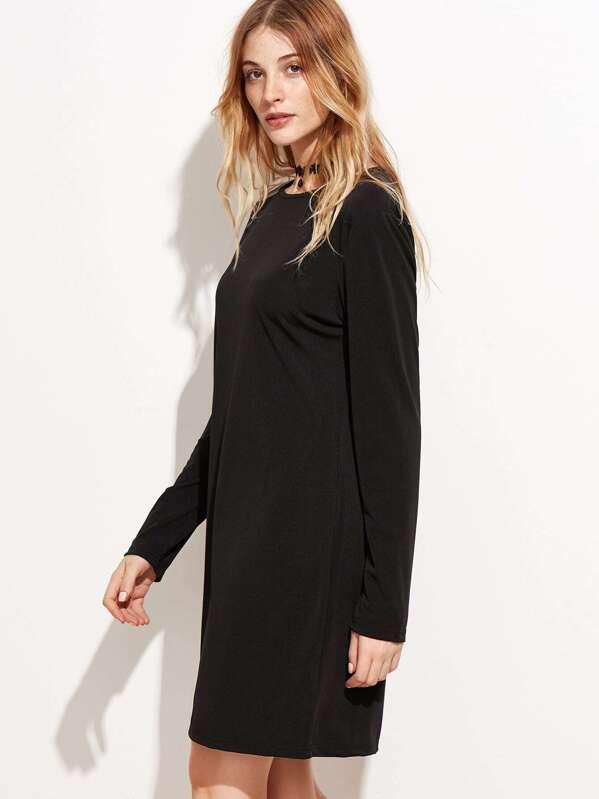 Vestido basico negro manga larga