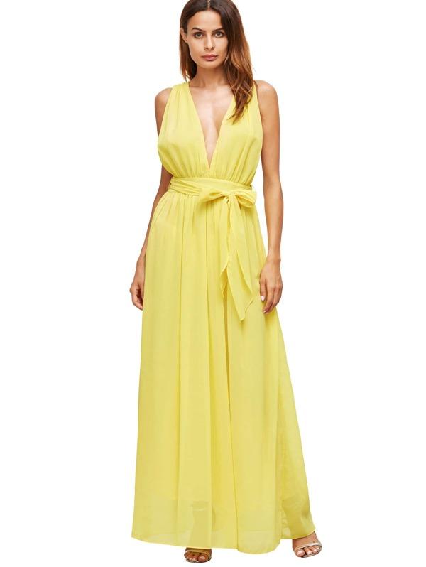 7853100414 Yellow Deep V Neck Self Tie Waist Maxi Dress | SHEIN