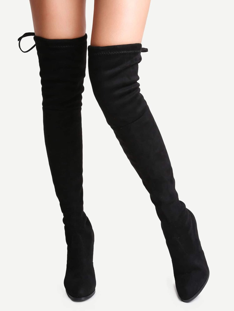 e4ebbbe30e Black Suede Point Toe Lace Up Over The Knee Boots | SHEIN