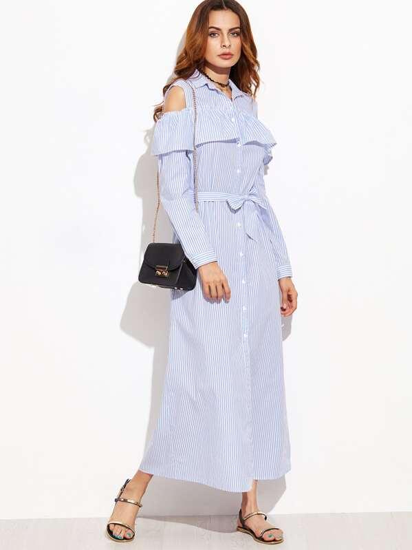 7e7b2bf478af Blue Vertical Striped Open Shoulder Ruffle Shirt Dress
