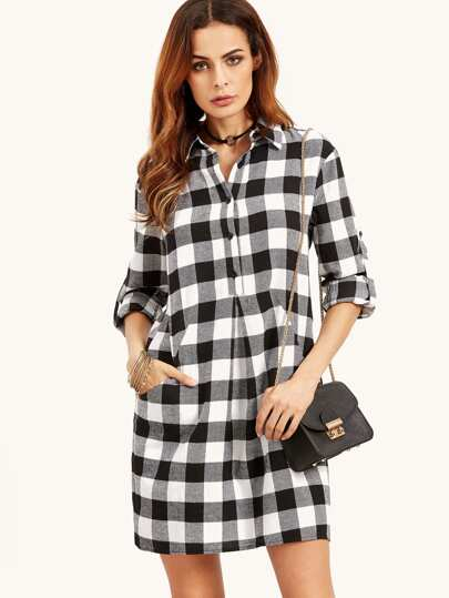 Robe chemise à carreaux manche réglable - noir blanc -French  SheIn(Sheinside)