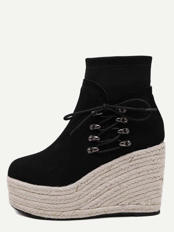 Chaussures En Compensé Suédé Semelle Avec Lacet Noir À E2WD9IYH