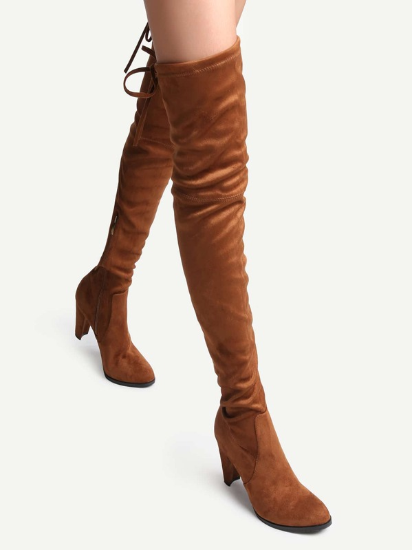 62def4959a Camel Faux Suede Tie Back Over The Knee Boots | SHEIN
