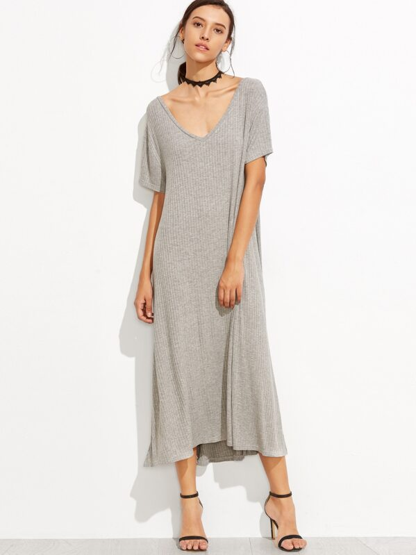 8621684c47b3 Heather Grey Side Slit Ribbed Midi Dress