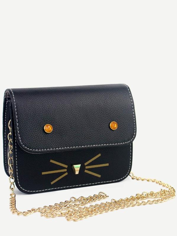 f676d533b823 Black Cat Design PU Flap Chain Bag -SheIn(Sheinside)